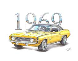 chip foose 1969 camaro 1969 chevrolet camaro sport drawing by shannon watts