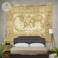 vintage world map wall tapestry old world map wall hanging