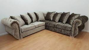 crushed velvet corner sofa rio customised 5 seater corner sofa with chesterfield arms in