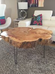 Wood Trunk Coffee Table Tree Trunk Table With Metal Legs Wood Coffee Table With Hairpin