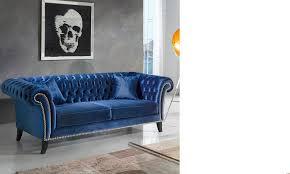 canape bleu canapé bleu 3 places en velours monceau hcommehome