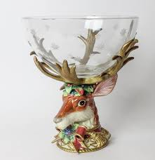 fitz and floyd christmas deer centerpiece pedestal bowl ebth
