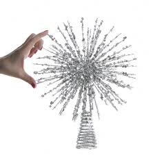 silver glittered wire starburst tree topper christmas trees and