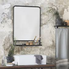 large black distressed industrial mirror with shelf u2013 the little
