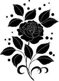 Black Rose Flower Flower Rose With Leaves And Confetti Black Silhouettes On White