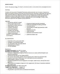 Sample Paramedic Resume by Sample Firefighter Resume 8 Examples In Word Pdf