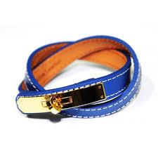 blue leather bracelet images Kelly double tour blue leather replica bangle bracelet jpg