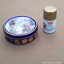 gold spray painted cookie tin the casual craftlete a creative