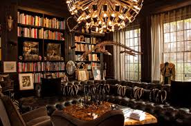 enchating home library decor with built in book shelves and black