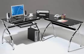modern silver floor l black l shape desk with silver steel curving legs placed on the