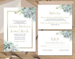 Succulent Wedding Invitations Succulent Wedding Invitation Greenery And Rose Gold