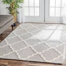 Area Rug 6 X 9 Nuloom Handmade Moroccan Trellis Grey And White Wool Area