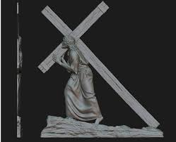 jesus with the cross relief 3d print model cgtrader