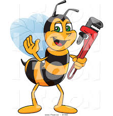 royalty free cartoon of a worker bee plumber waving and holding a