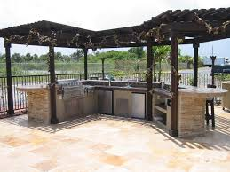 custom built outdoor kitchen with wood gazebo u2014 gas grills parts