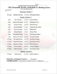 nfl office pool 2015 printable week 4 schedule with betting lines
