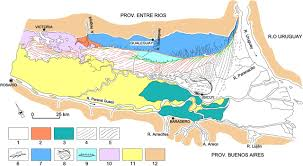 Parana River Map Río De La Plata Inner Estuary Argentina Main Forms Sedimentary