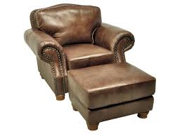 Chair And A Half Recliner Leather 6089 10 Rustic Rust Ottoman Stationary Leather Lacrosse Furniture