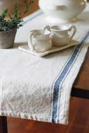 farmhouse style table cloth feed sack style table runner with blue stripes