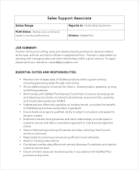 Sale Associate Job Description On Resume by Sample Sales Associate Job Dutie 6 Documents In Pdf