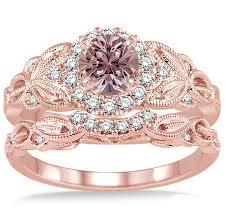 morganite bridal set 1 25 carat morganite diamond vintage floral bridal set