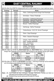 rail road air indian railways new revised train number in east