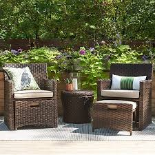 Small Patio Dining Sets Halsted 5 Wicker Small Space Patio Furniture Set Threshold