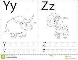 Free Alphabet Tracing Worksheets Cartoon Yak And Zebra Alphabet Tracing Worksheet Writing A Z A