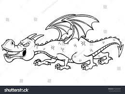 vector illustration cartoon dragon coloring book stock vector