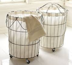 Pottery Barn Baskets With Liners Florence Wire Hamper U0026 Liner Pottery Barn