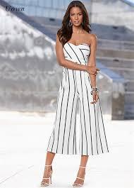 womens pant jumpsuit black striped strapless jumpsuits fashion wide leg pant
