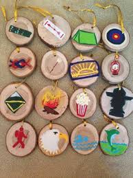 major knitter painted boy scout ornaments