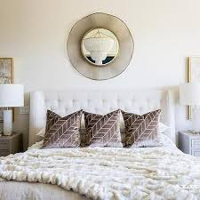 white and gold lamp with gray nightstand transitional bedroom