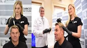 shane warne hair transplant shane warne receiving stem cell therapy from blonde bombshell to