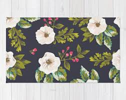 Floral Pattern Rugs Girls Rug Etsy