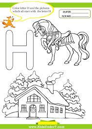 kids under 7 letter h worksheets and coloring pages