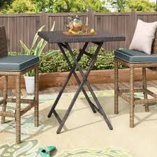 high top patio table and chairs bar height patio tables you ll love wayfair