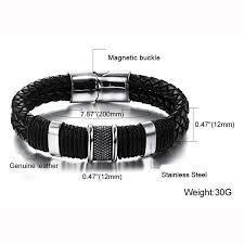 leather stainless steel bracelet images Genuine leather bracelet men stainless steel leather braid jpg