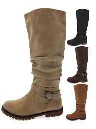 womens knee high biker boots warm winter faux fur lined riding