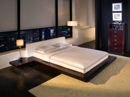 bed design with side table black wooden low bed frame combined with side table also white head