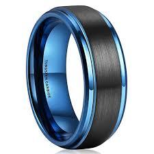 titanium tungsten rings images 8mm unisex or men 39 s tungsten wedding bands black and blue jpg