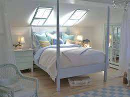 loft teenage beachy themed rustic bedroom design with sloping