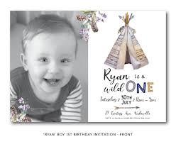 tribal boho wild one 1st birthday invitation boy birthday teepee