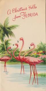 vintage greeting card christmas florida 1940s pink flamingos v425