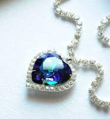 titanic blue heart necklace images Moive titanic pretty heart of the ocean blue crystal pendant JPG