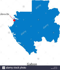 gabon in world map detailed vector map of gabon and capital city libreville stock