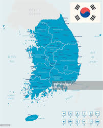 Map Of World Korea by An Illustrated Map Of South Korea Vector Art Getty Images