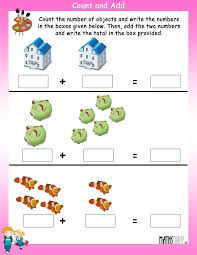 count and write the number of objects and then add the answers