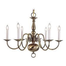 Brass Chandelier Shop Livex Lighting Williamsburg 24 In 6 Light Antique Brass
