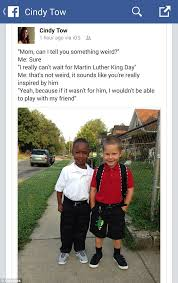 Martin Luther King Day Meme - six year old boy thanks martin luther king jr for being able play